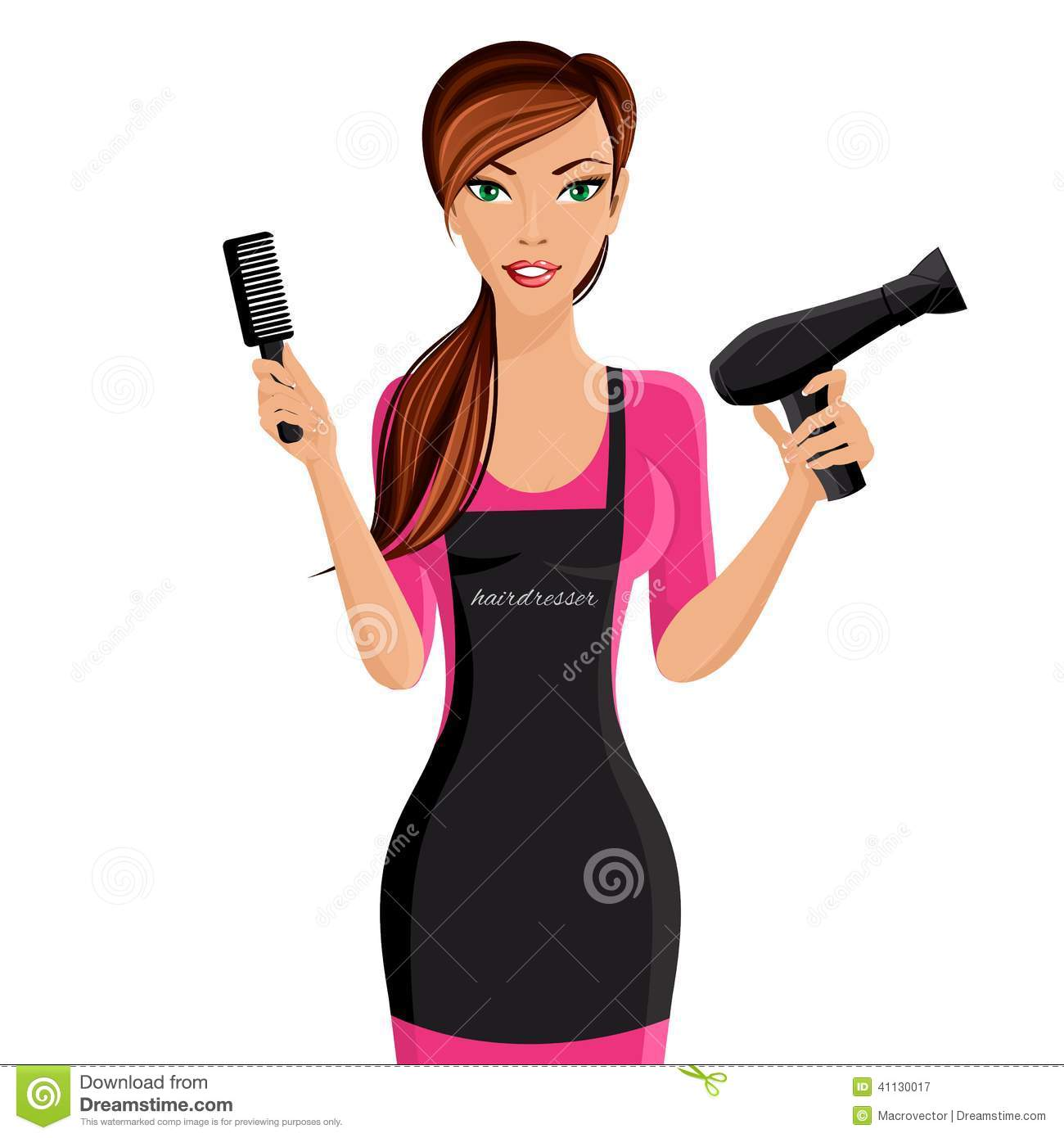 Attractive happy girl hairdresser with comb and hair dryer portrait ...