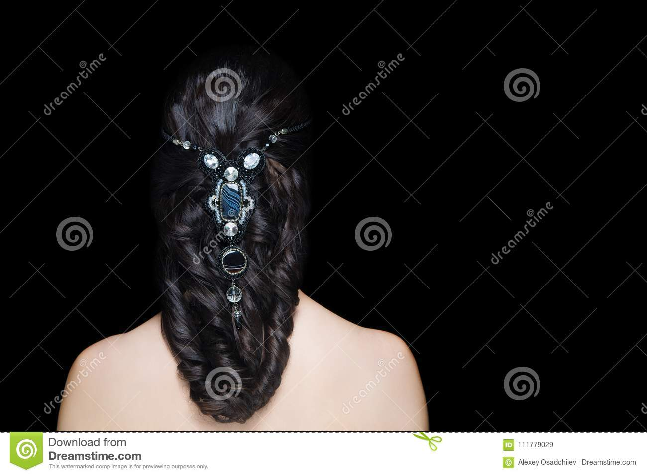 Woman hairstyle gathered hairdo curls