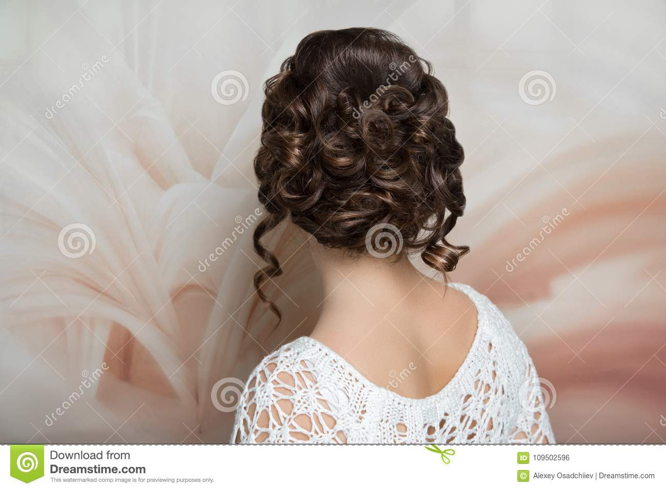 Woman Hairstyle Gathered Hairdo Curls Stock Photo - Image of