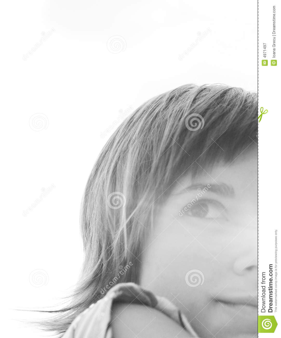 woman half face smiling