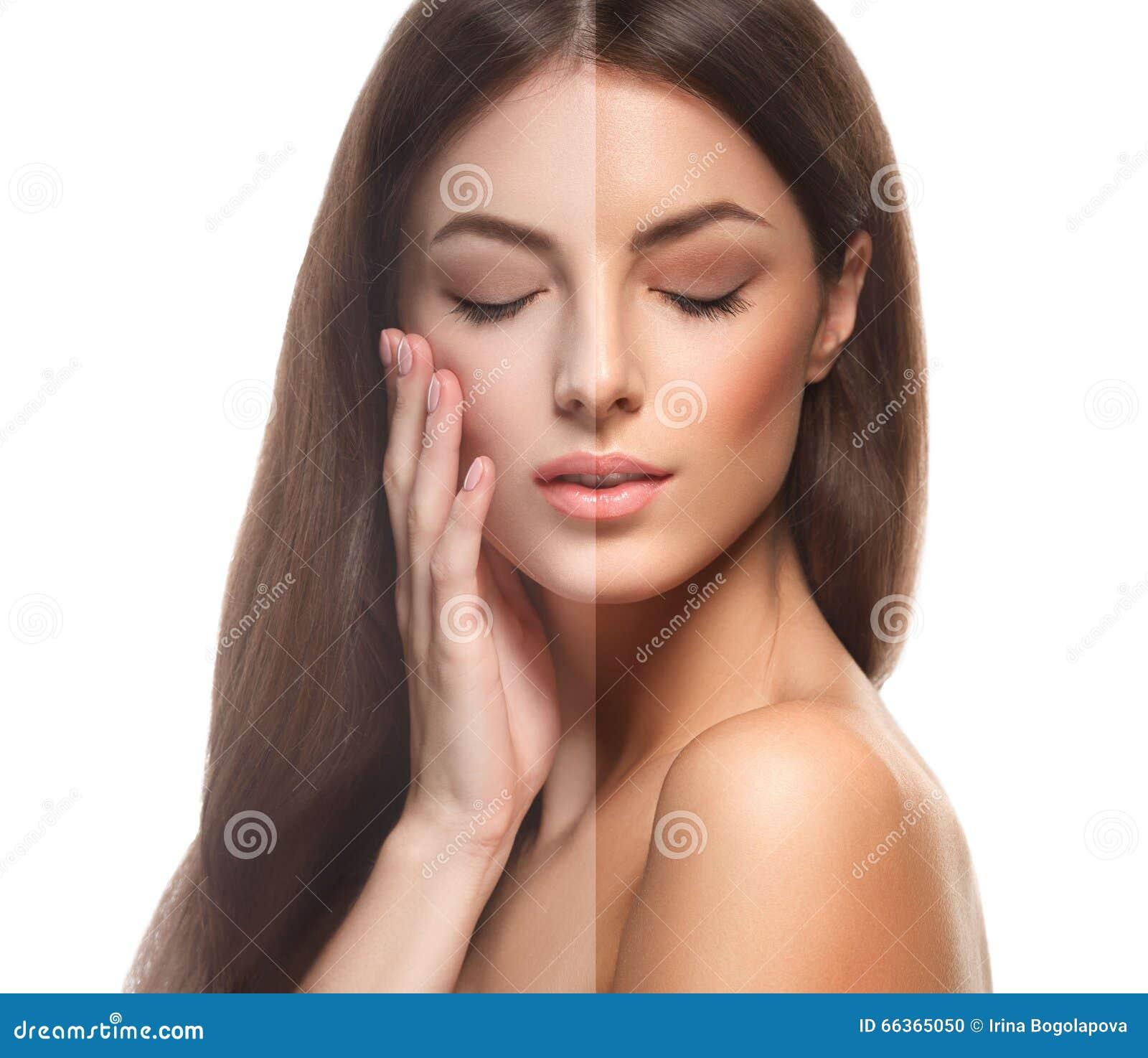 Beautiful Woman Face Over Beach Sunset Stock Image: Woman Half-face Tan Happy Young Beautiful Studio Portrait