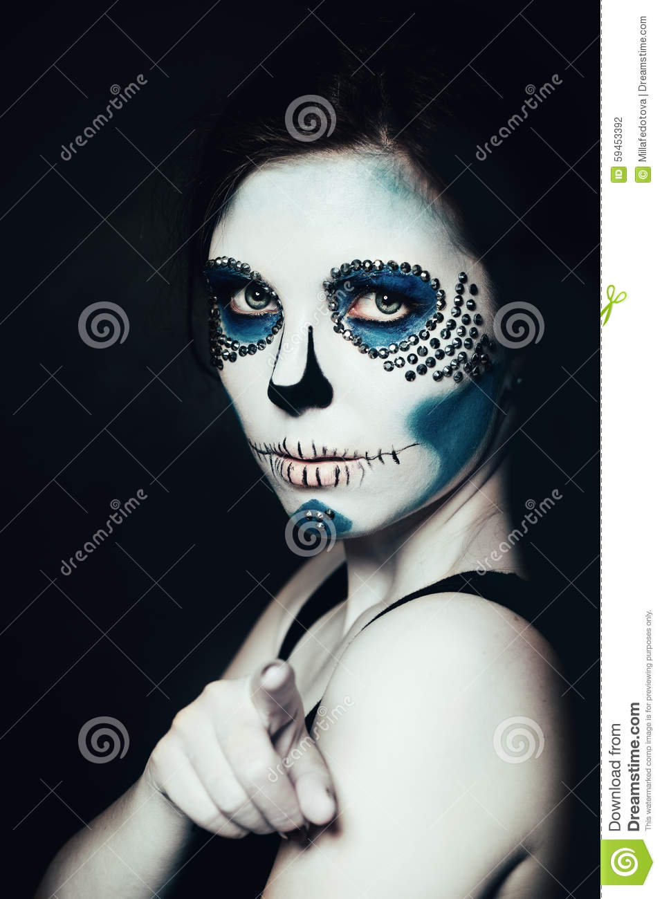 woman with halloween makeup sugar skull beautiful model stock photo image 59453392. Black Bedroom Furniture Sets. Home Design Ideas