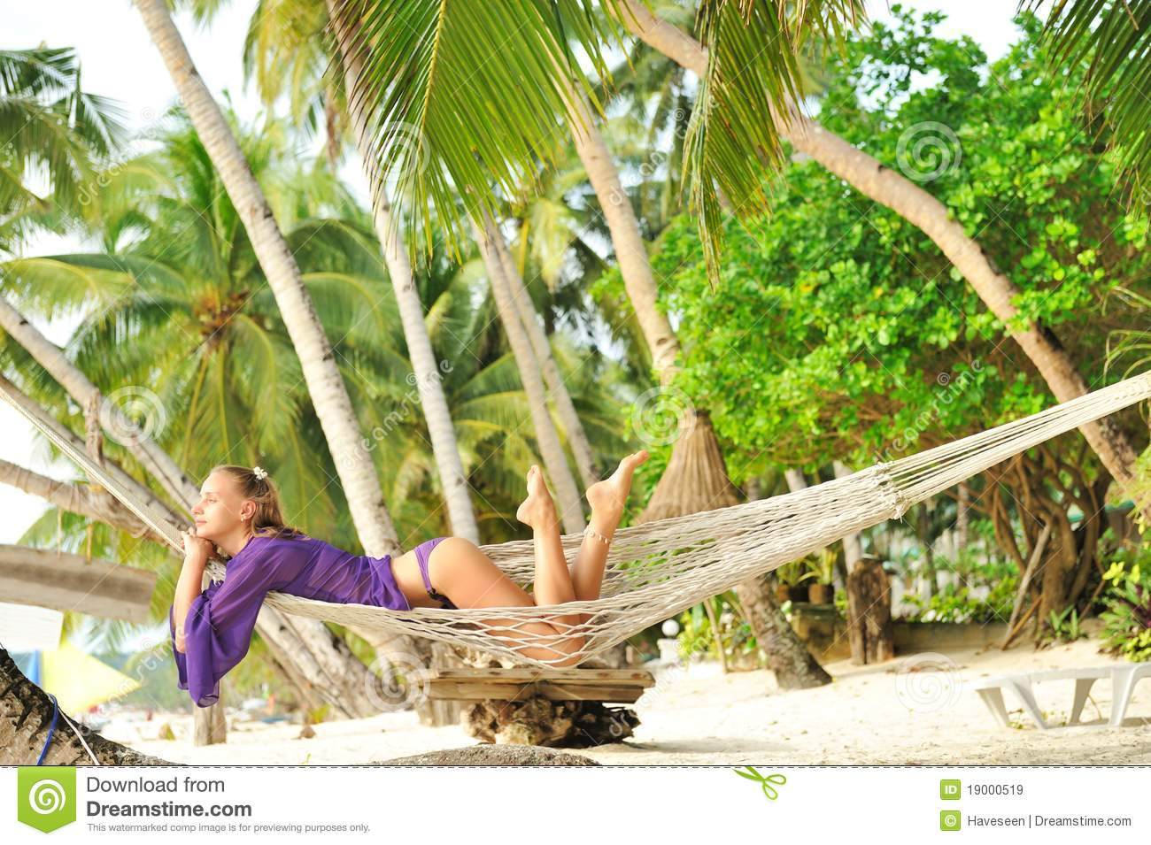 Woman In Hammock On Beach Royalty Free Stock Images ...