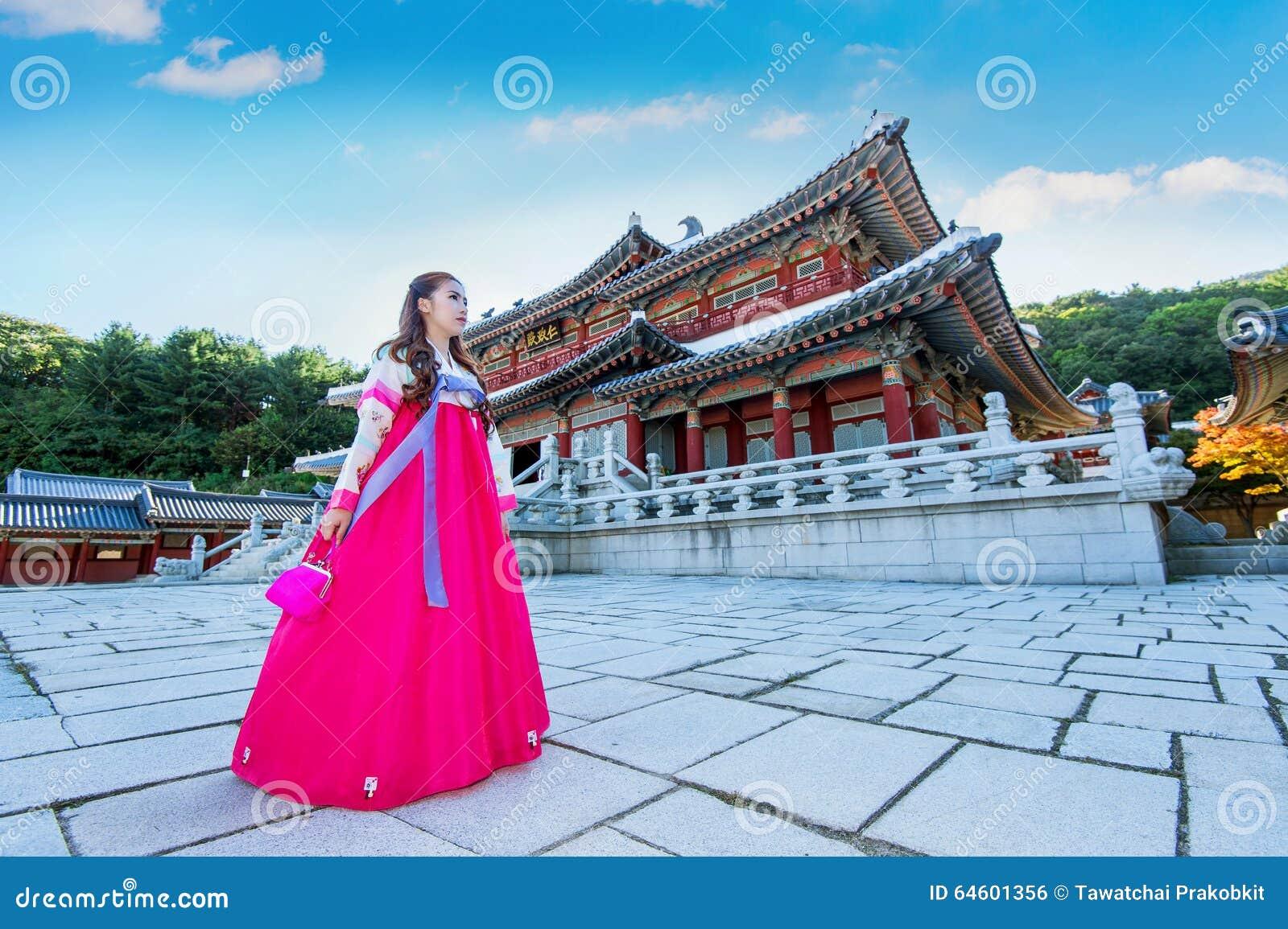 Woman With Hanbok In Gyeongbokgung The Traditional Korean
