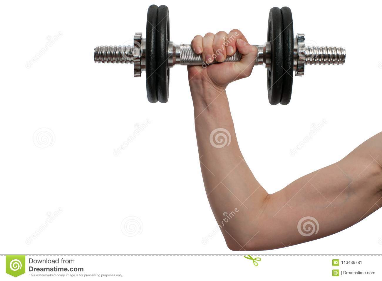Woman hand with black metal Dumbbell isolated on white background
