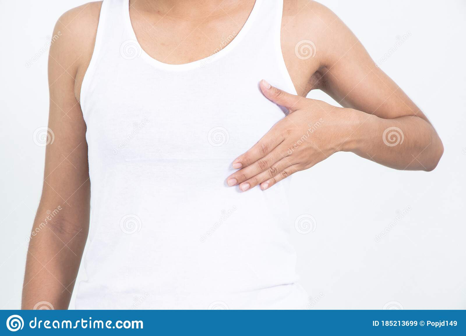 Woman Hand Checking Lumps On Her Breast For Signs Of Breast Cancer On Gray Background Healthcare Concept Stock Image Image Of Holding Background 185213699