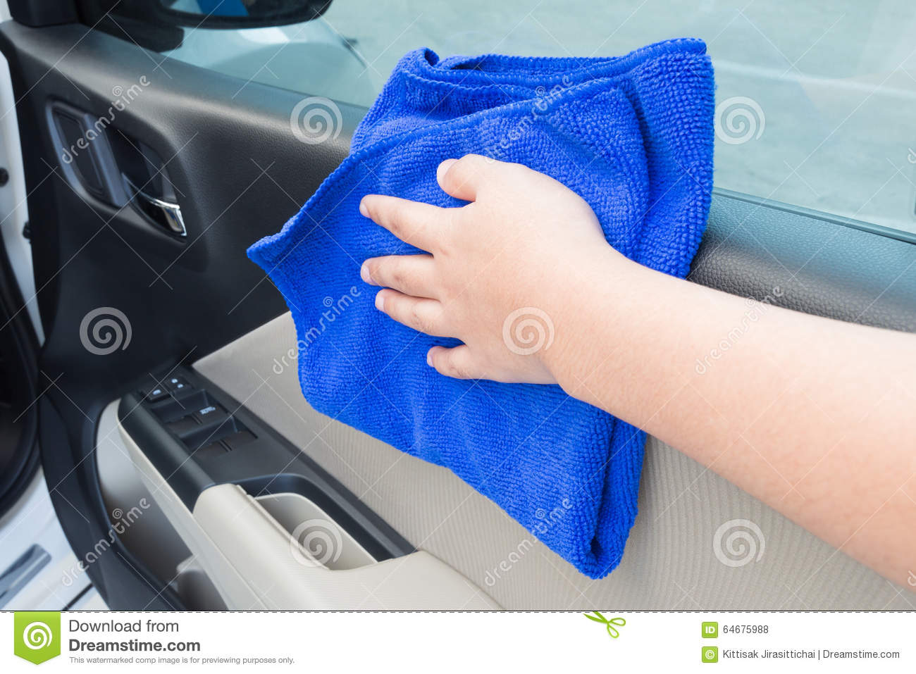 woman hand cleaning interior car door panel with microfiber clot stock photo image 64675988. Black Bedroom Furniture Sets. Home Design Ideas