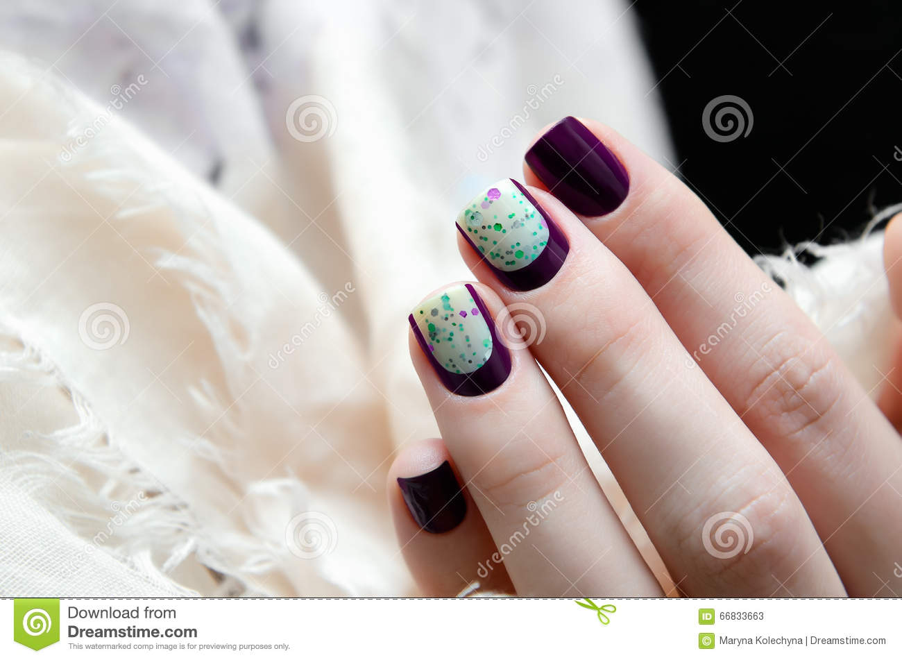 Woman Hand With Dark Nail Design. Stock Image - Image of care ...