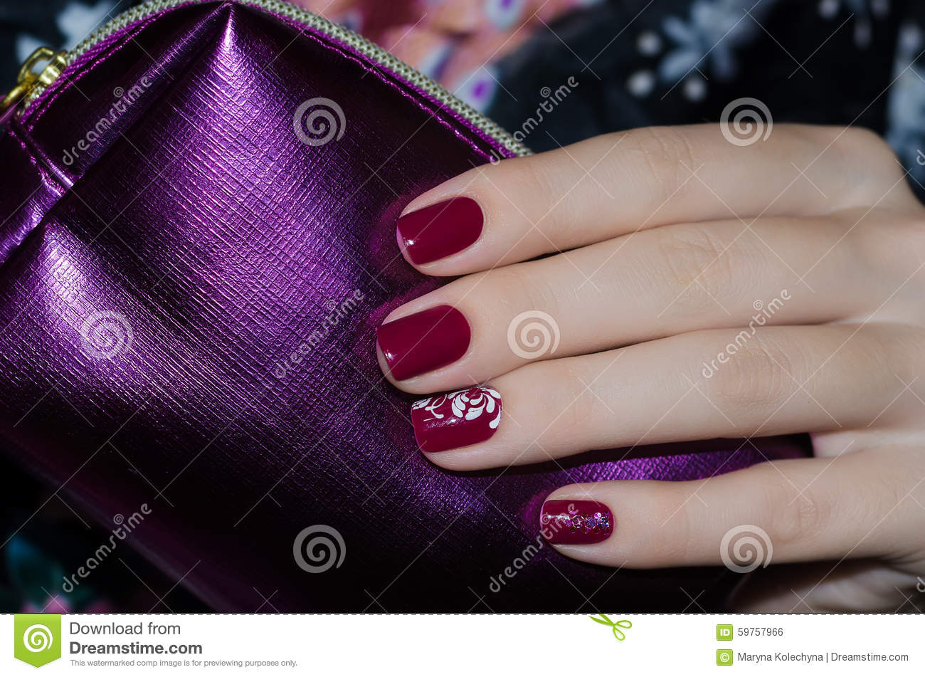 Woman Hand With Dark Red Nail Design Stock Photo - Image of acrylic ...