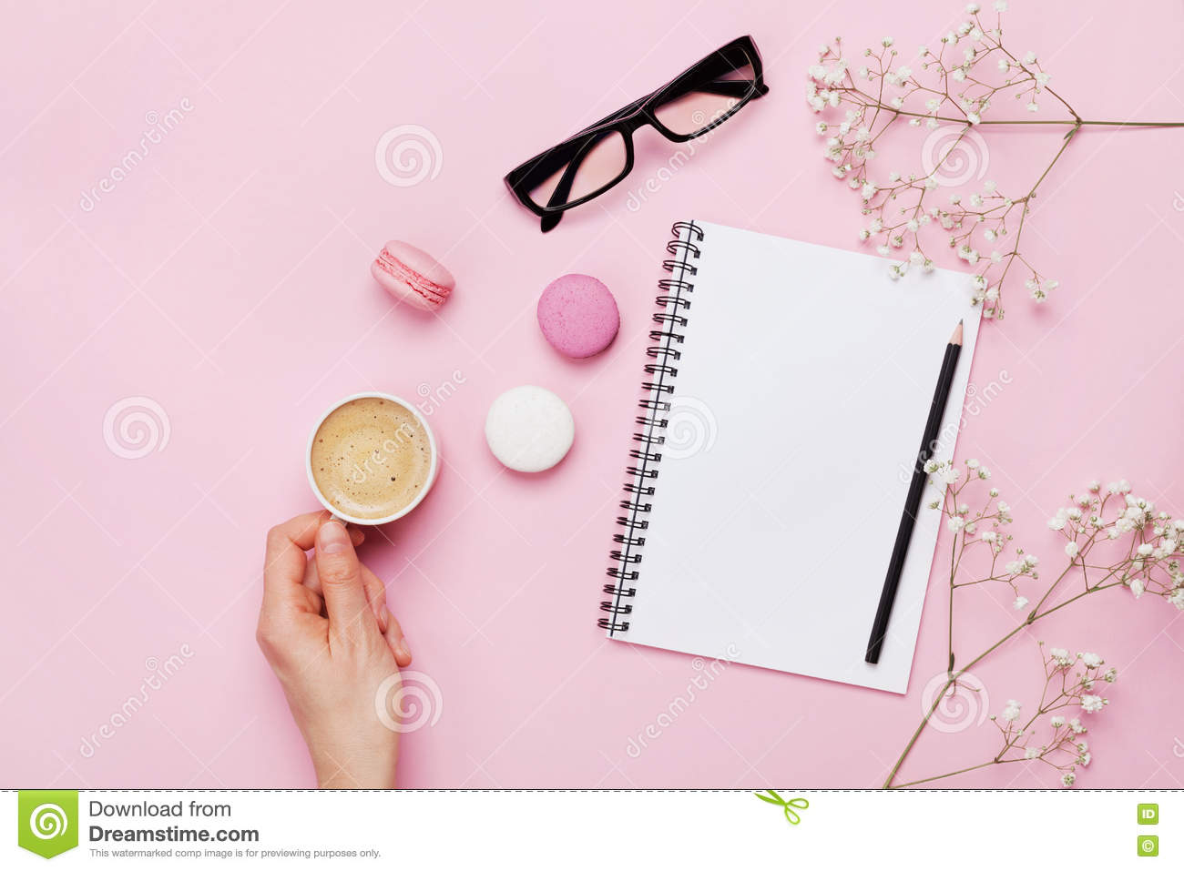 Download Woman Hand Hold Cup Of Coffee, Cake Macaron, Clean Notebook, Eyeglasses And Flower On Pink Table From Above. Female Working Desk. Stock Photo - Image of colorful, card: 79676296