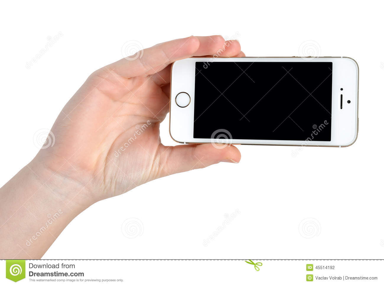 Woman Hand Holding Apple iPhone 5S Smart Phone