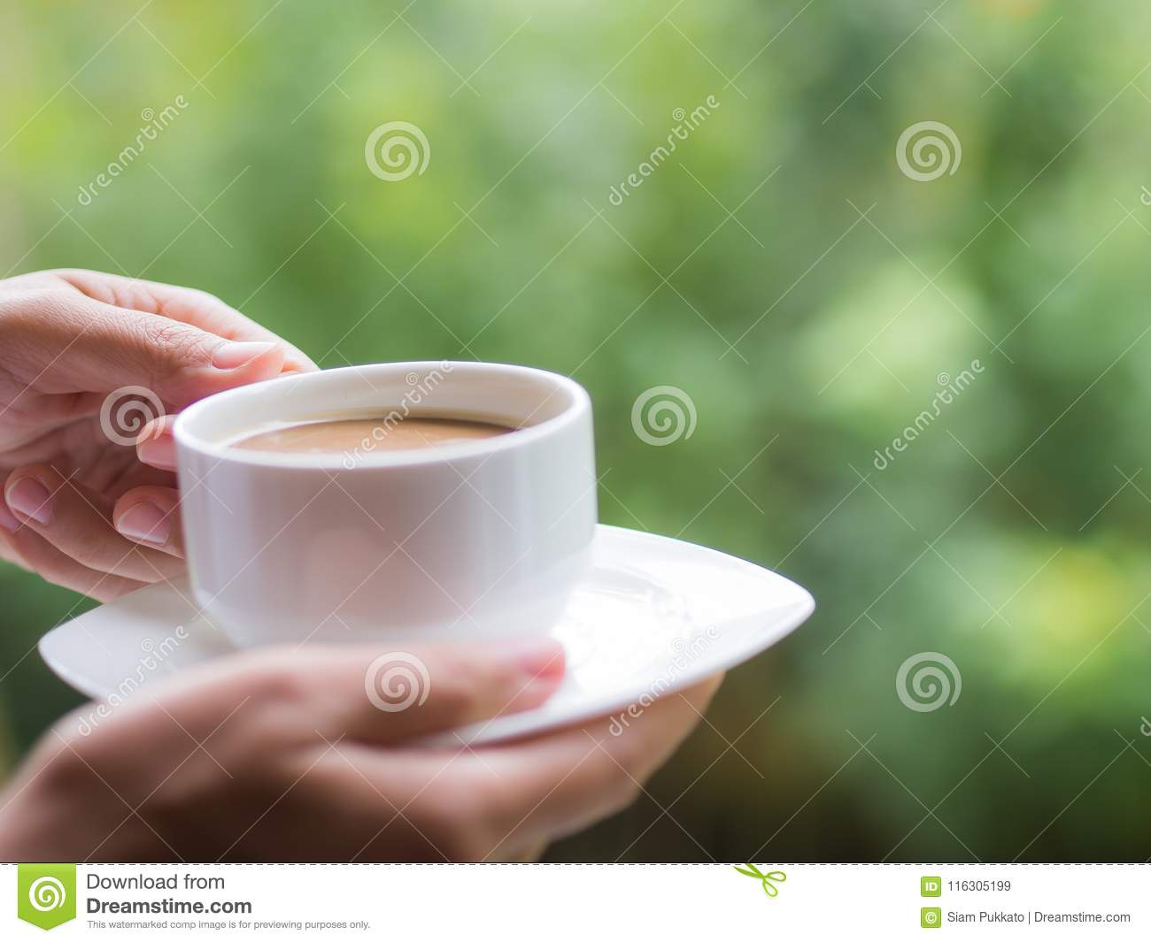 Woman hand holding a cup of coffee at the garden in the morning