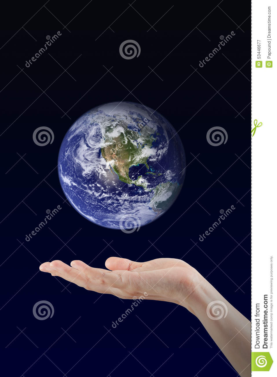 Woman hand holding Earth planet