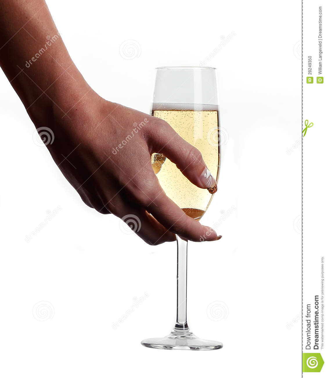 A Woman Hand Is Holding A Glass Champagne Stock Photo