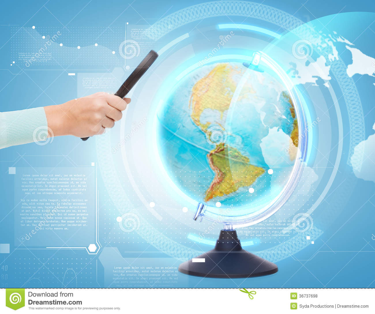 Travel Geography: Woman Hand Holding Magnifying Glass Over Globe Stock Photo