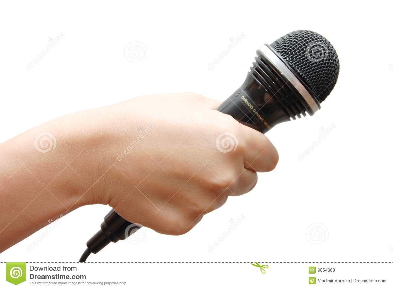 Microphone In Hand : Woman hand holding a microphone royalty free stock photos