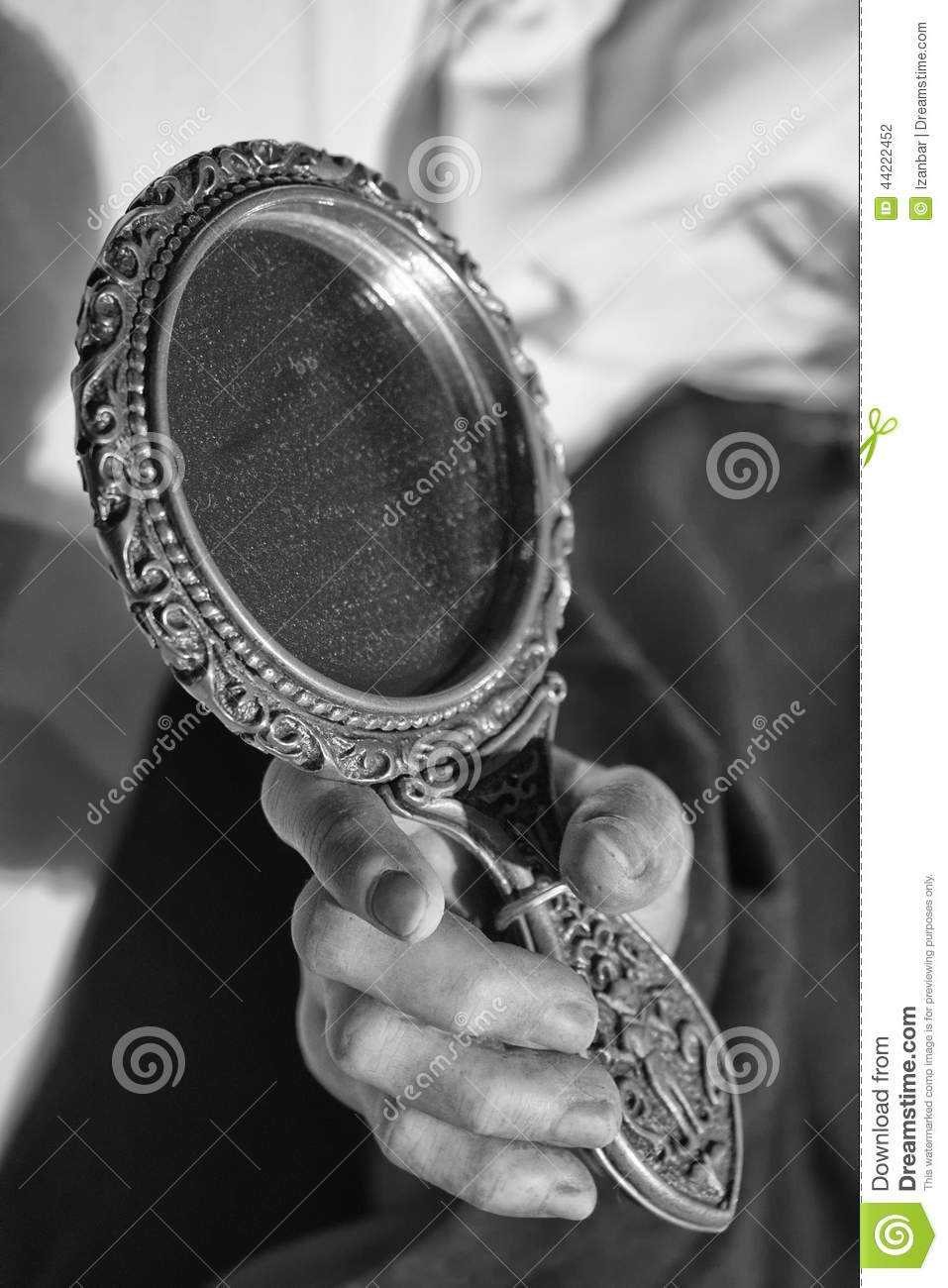 Woman Hand Holding A Mirror In Black And White Stock Photo