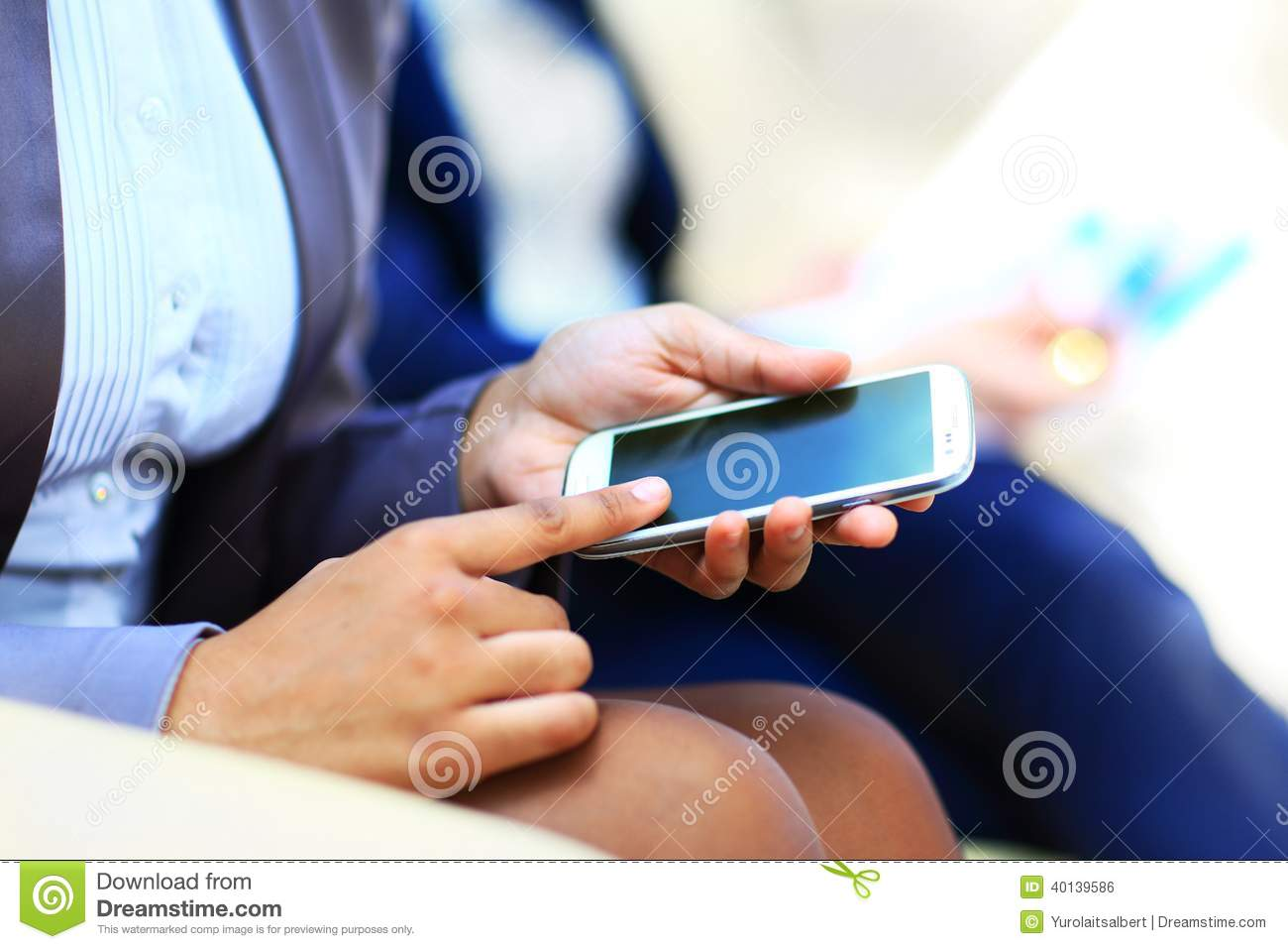 Woman Hand With Mobile Phone On It Stock Photo ...