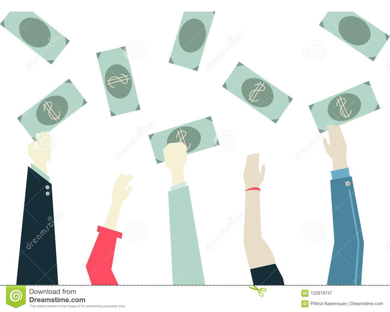 Woman Hand Holding Money Symbol Of Wealth Success And Good Luc