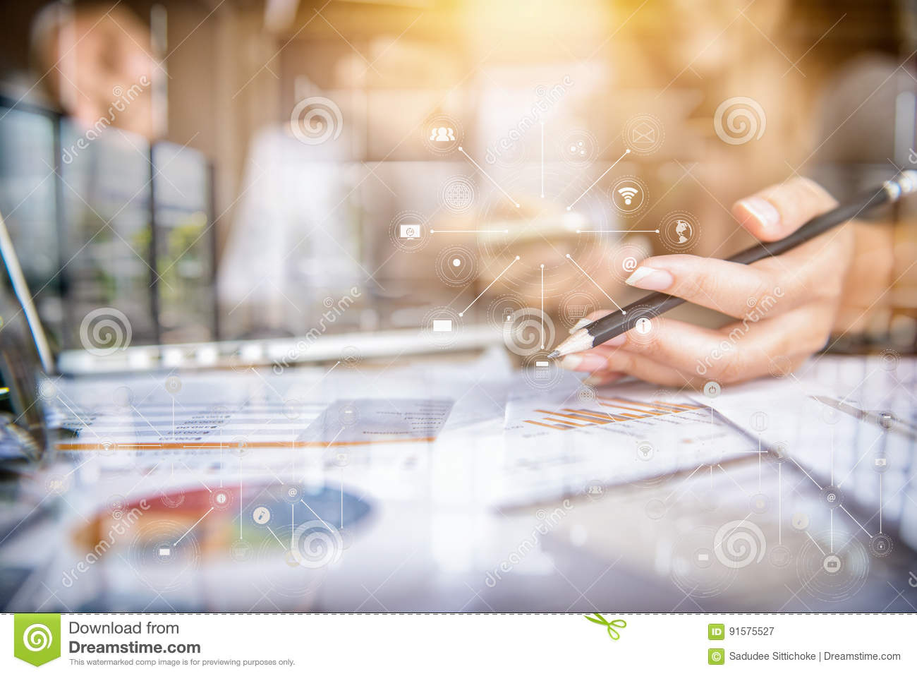 Woman Hand Holding A Pen On Paper Stock Image - Image of