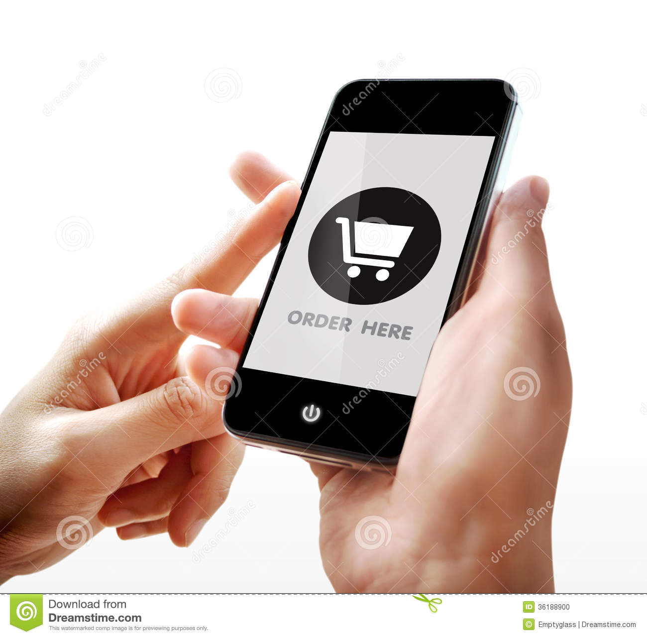 Woman hand holding a phone stock illustration for Onlineshop fur mobel
