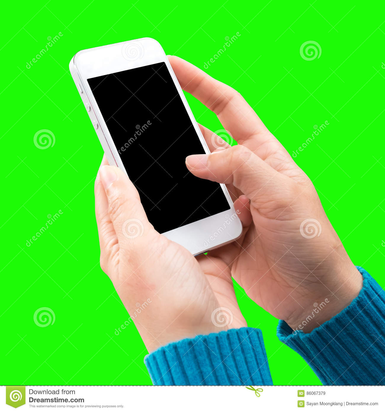 Woman hand holding and using mobile,cell phone,smart phone with screen.