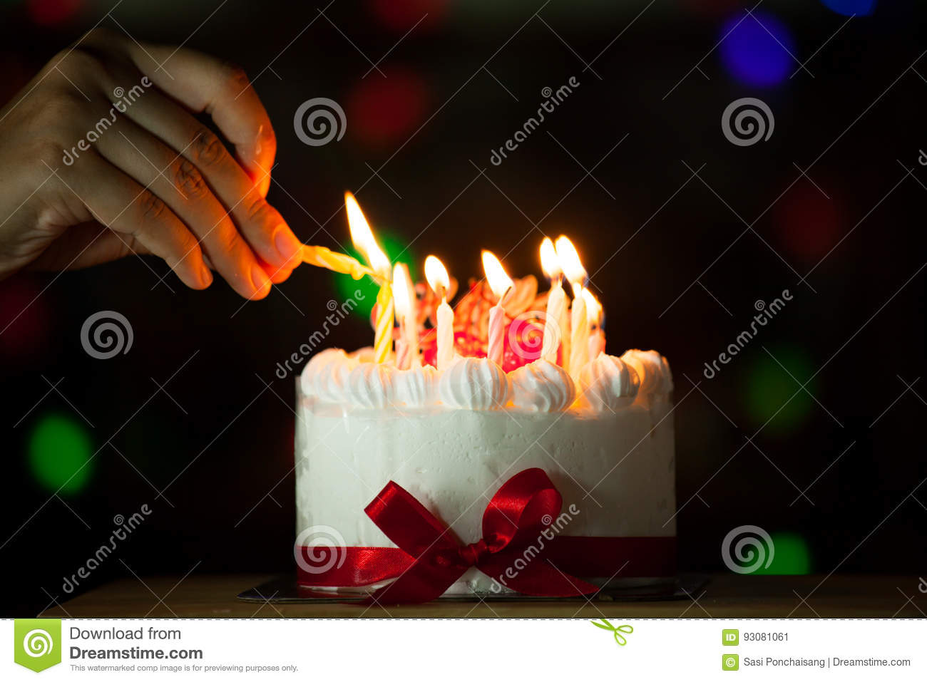 Download Woman Hand Lighting Candle On Birthday Cake Stock Image - Image of delicious, dark: 93081061