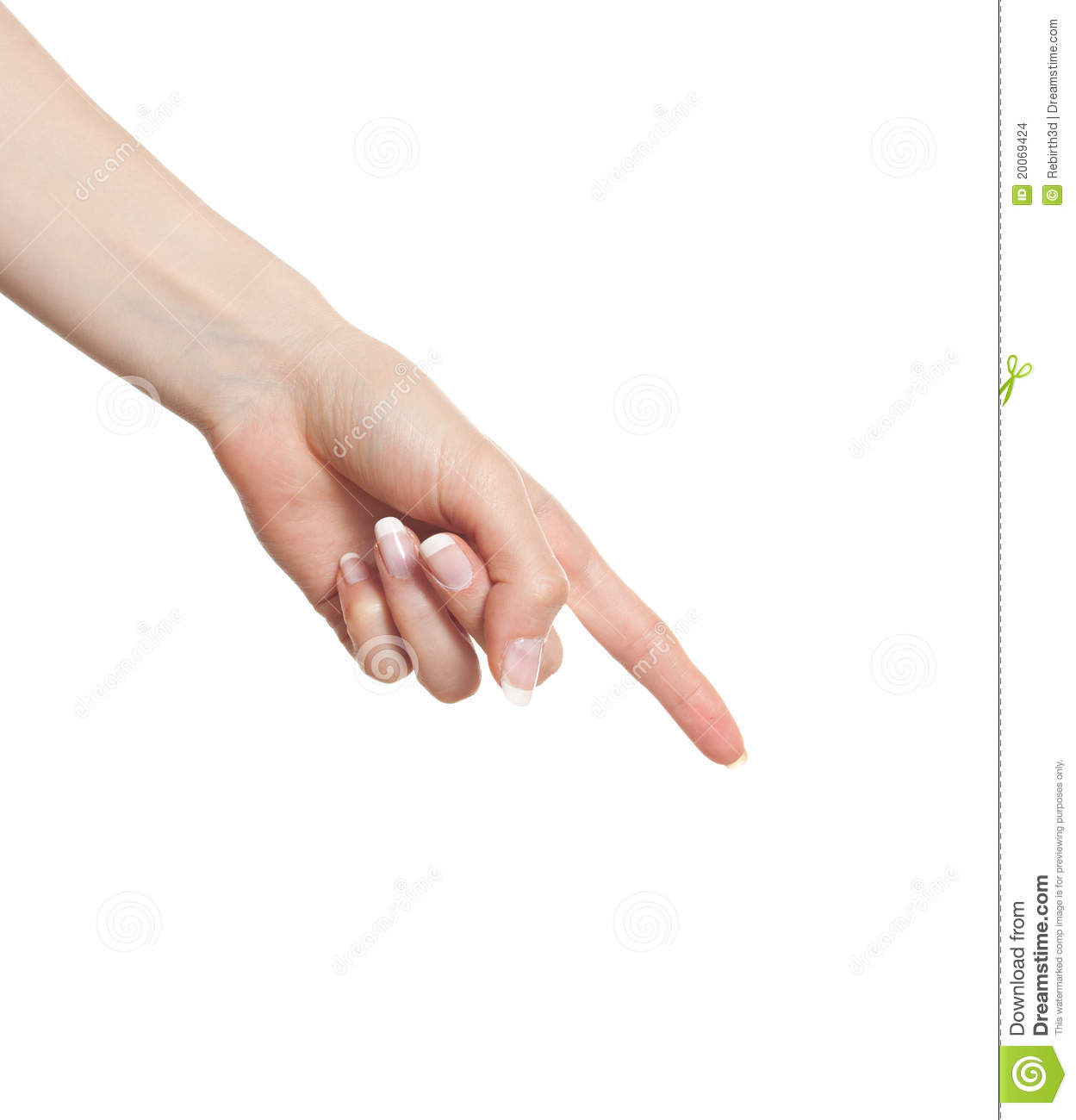 Woman hand pointing down stock photo  Image of hand, finger