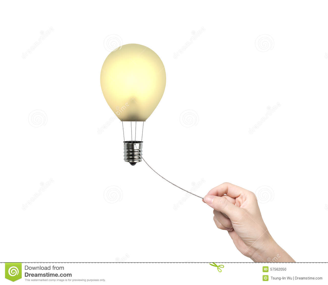 Woman Hand Pulling Rope Connected Lightbulb Hot Air ...