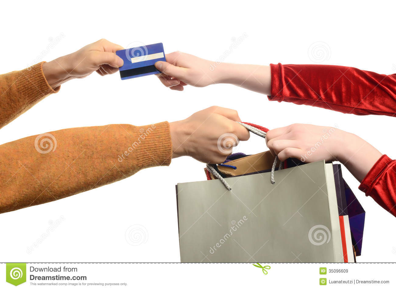 Woman Hand Pulling The Shopping Bags, Man Hand Pul Royalty ...