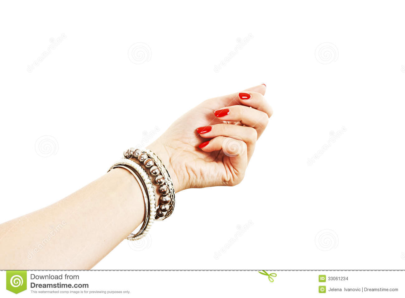 Woman Hand With Silver Bangles Stock Photo - Image of long ...