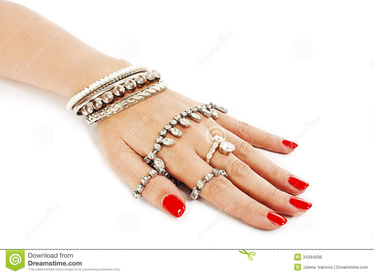 Woman Hand With Silver Bangles Stock Photo - Image: 34294506