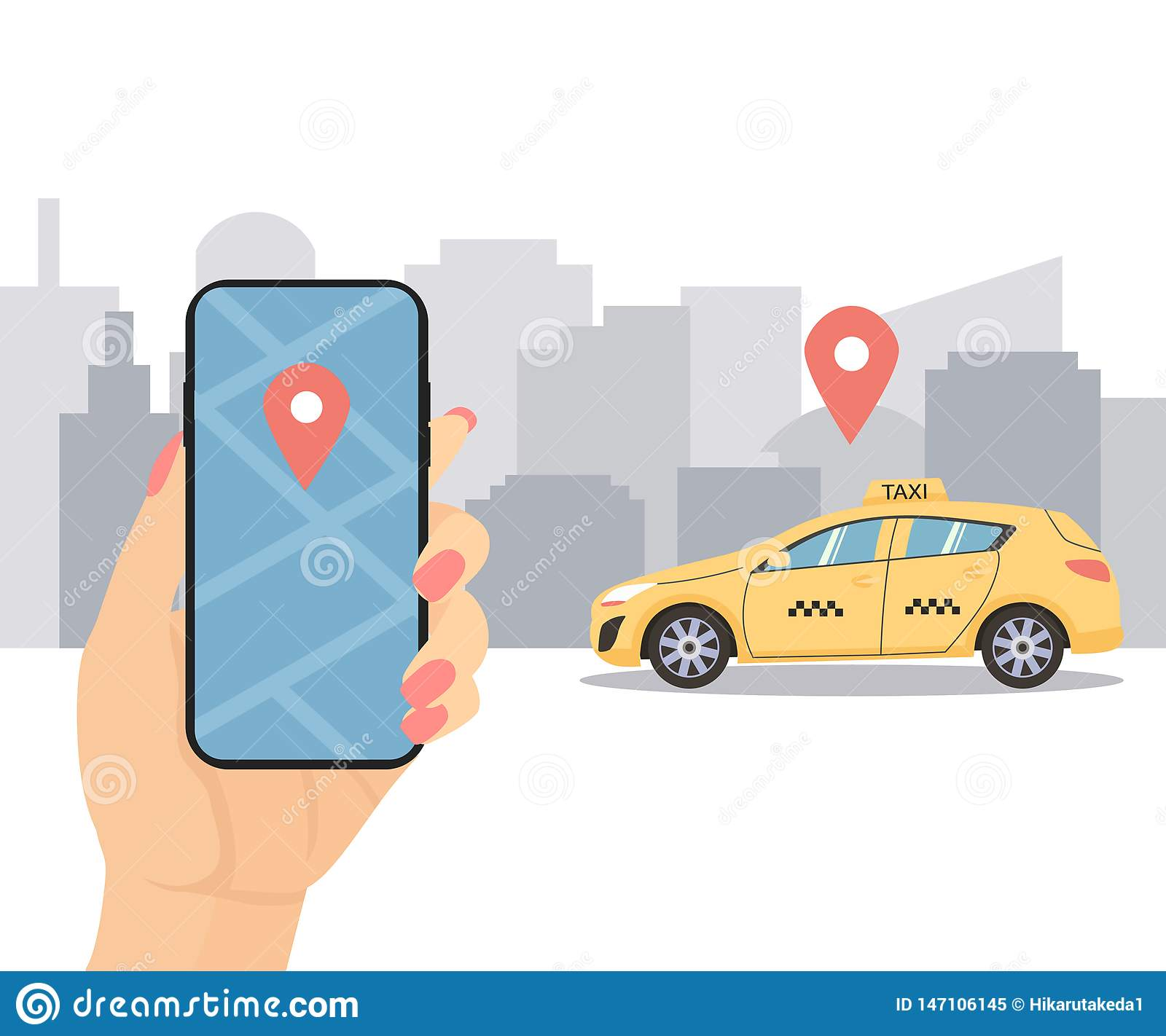 Hand Holds The Phone. Call A Taxi Online Booking Stock
