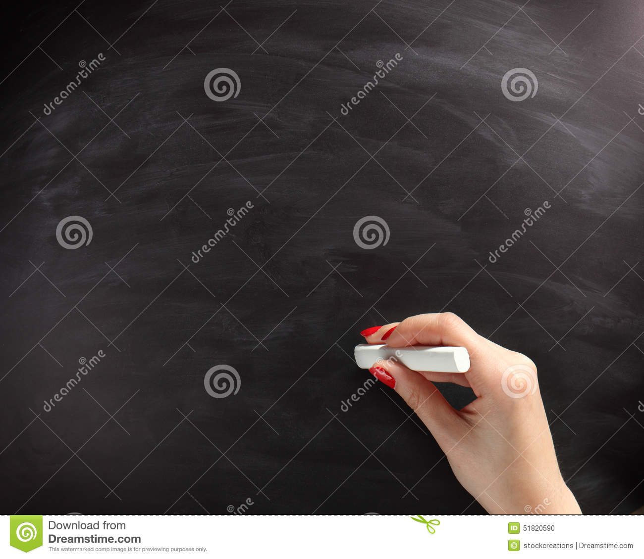 Woman Hand About To Write On Black Chalkboard Stock Photo - Image of ...