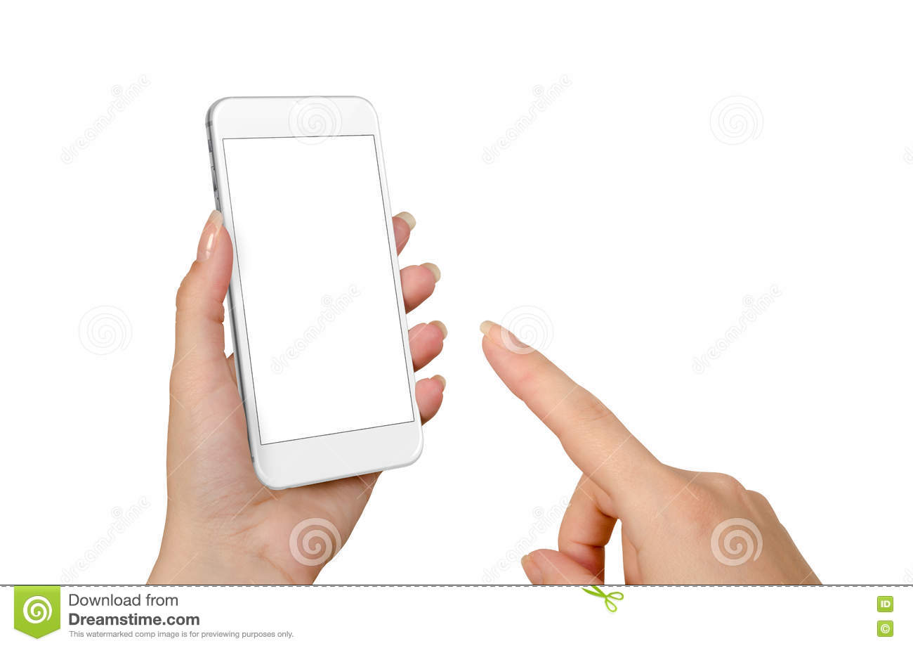 woman hand touch smart phone with isolated blank screen for mockup