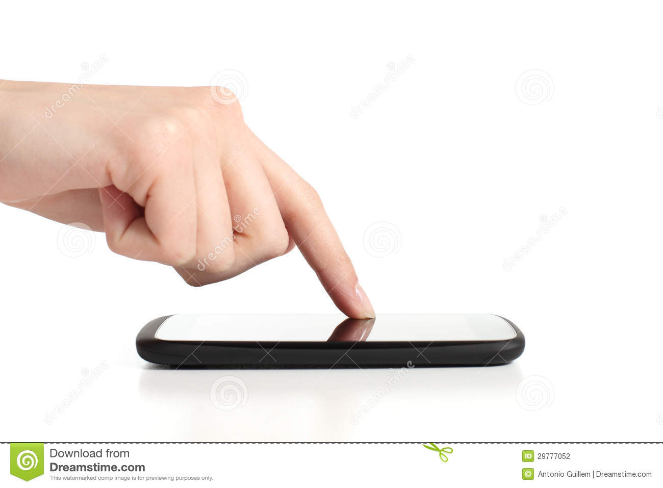 Woman hand touching a mobile phone screen with forefinger for Telephone portable a touches