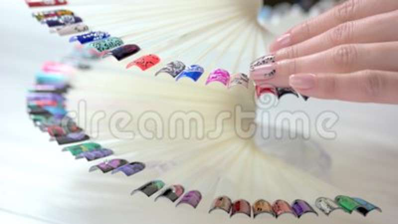 Woman Hand Touching Nail Design Samples. Stock Footage - Video of ...