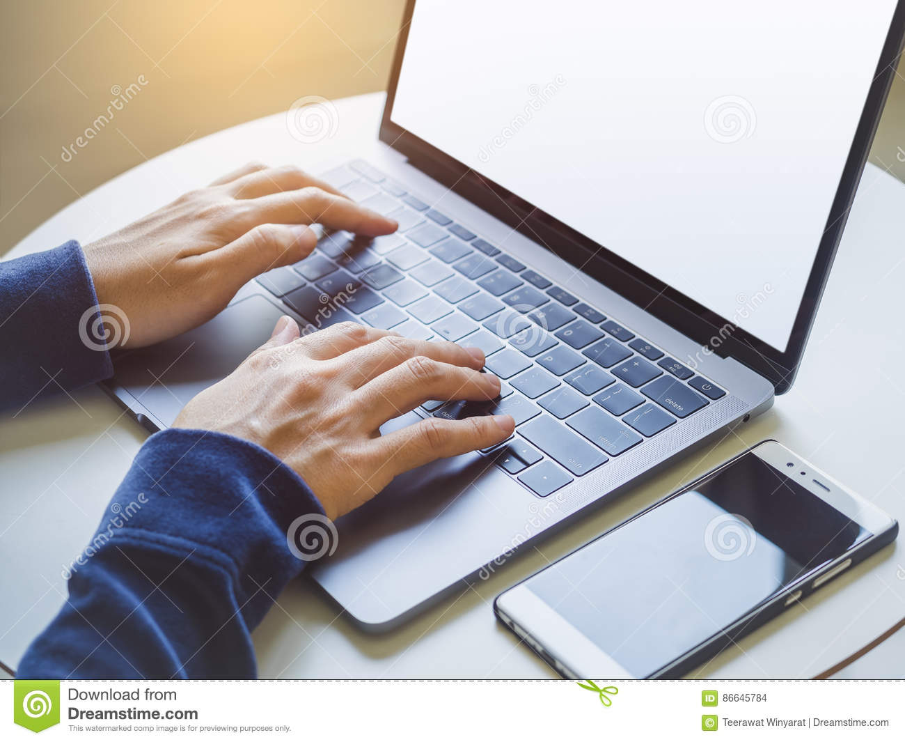 woman hand type on laptop keyboard with smart phone business concept stock photo image of. Black Bedroom Furniture Sets. Home Design Ideas