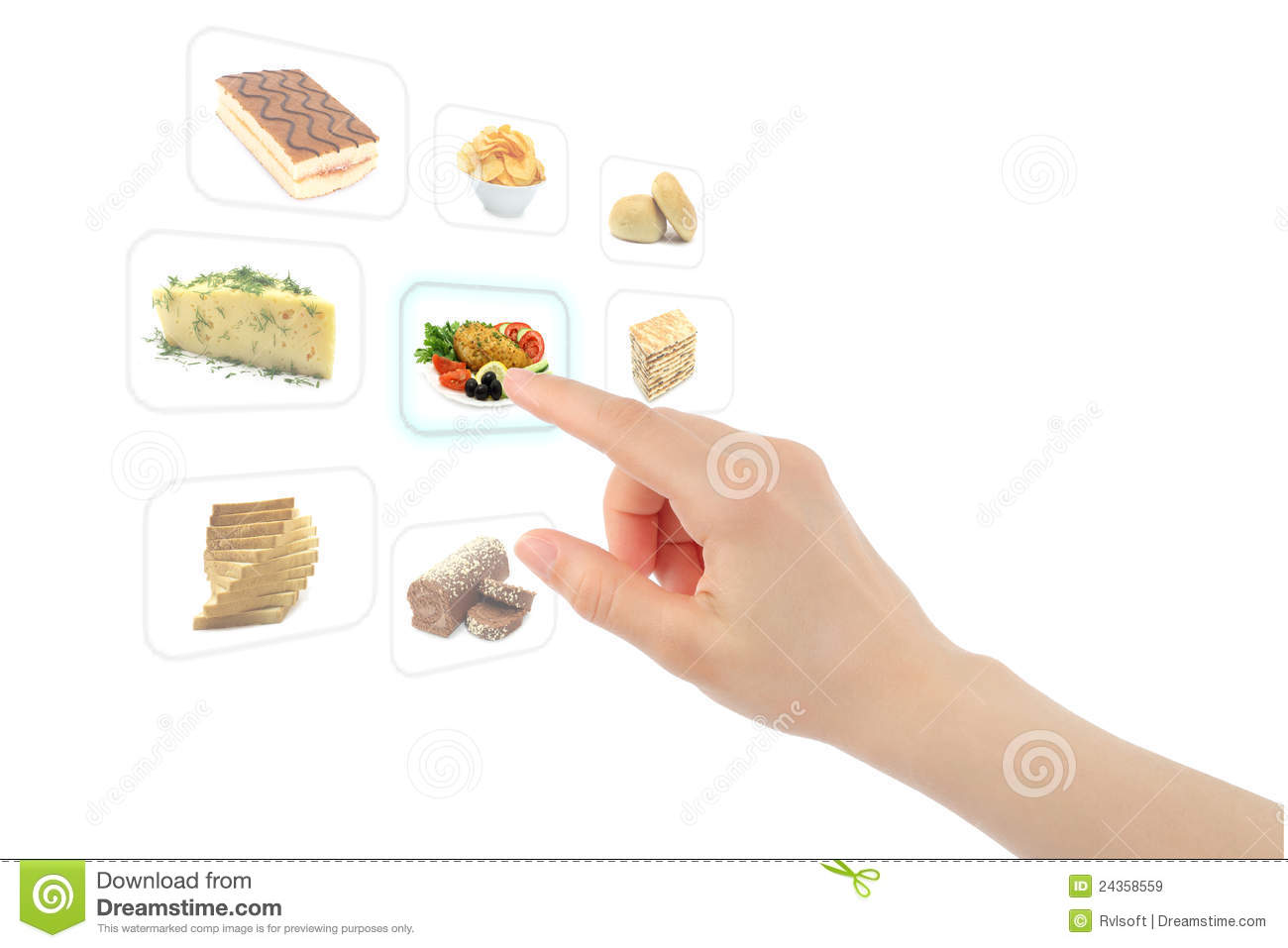 Woman Hand Uses Touch Screen Interface With Food Royalty Free Stock ...
