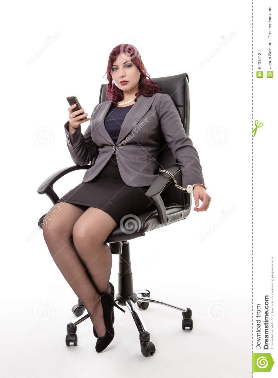 Woman Handcuffed To Office Chair Stock Image - Image of ...  Woman Handcuffe...