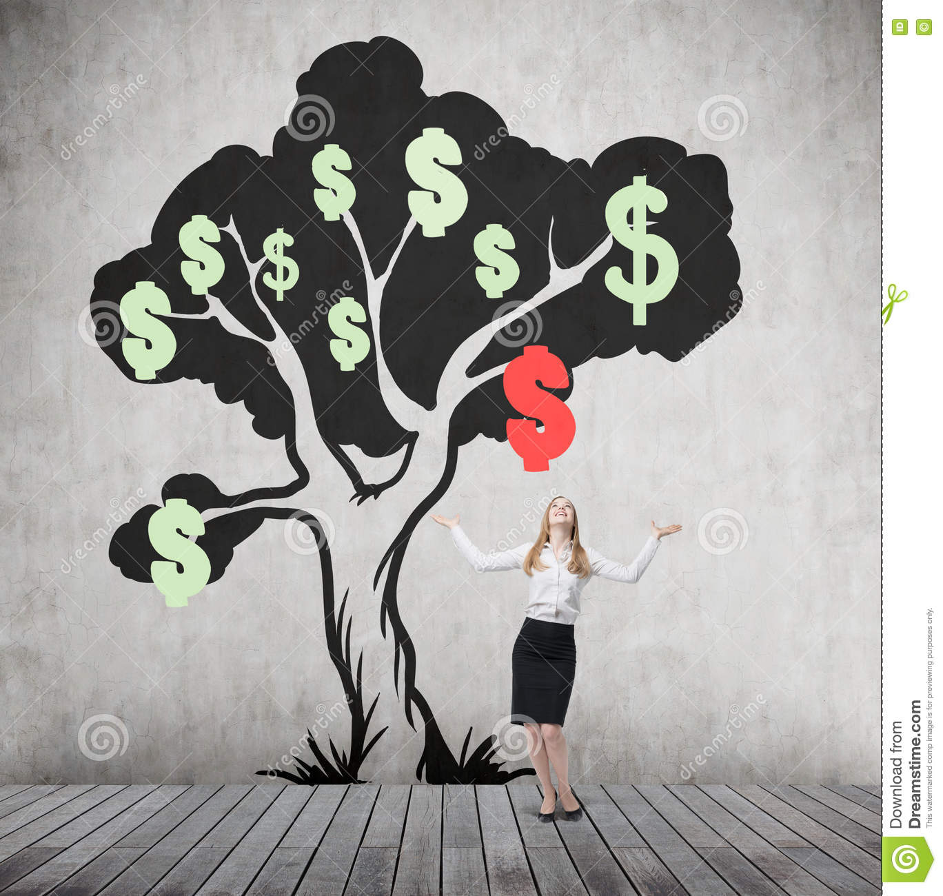 Woman with hands in the air and dollar tree with falling sign