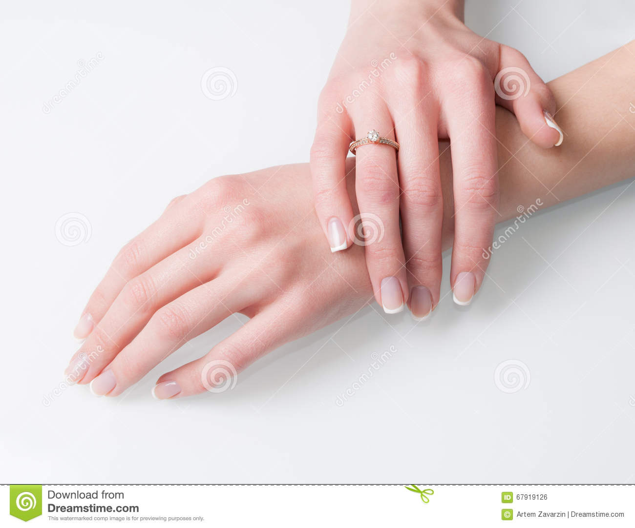 Woman Hands With Engagement Ring On White Stock Photo - Image of ...