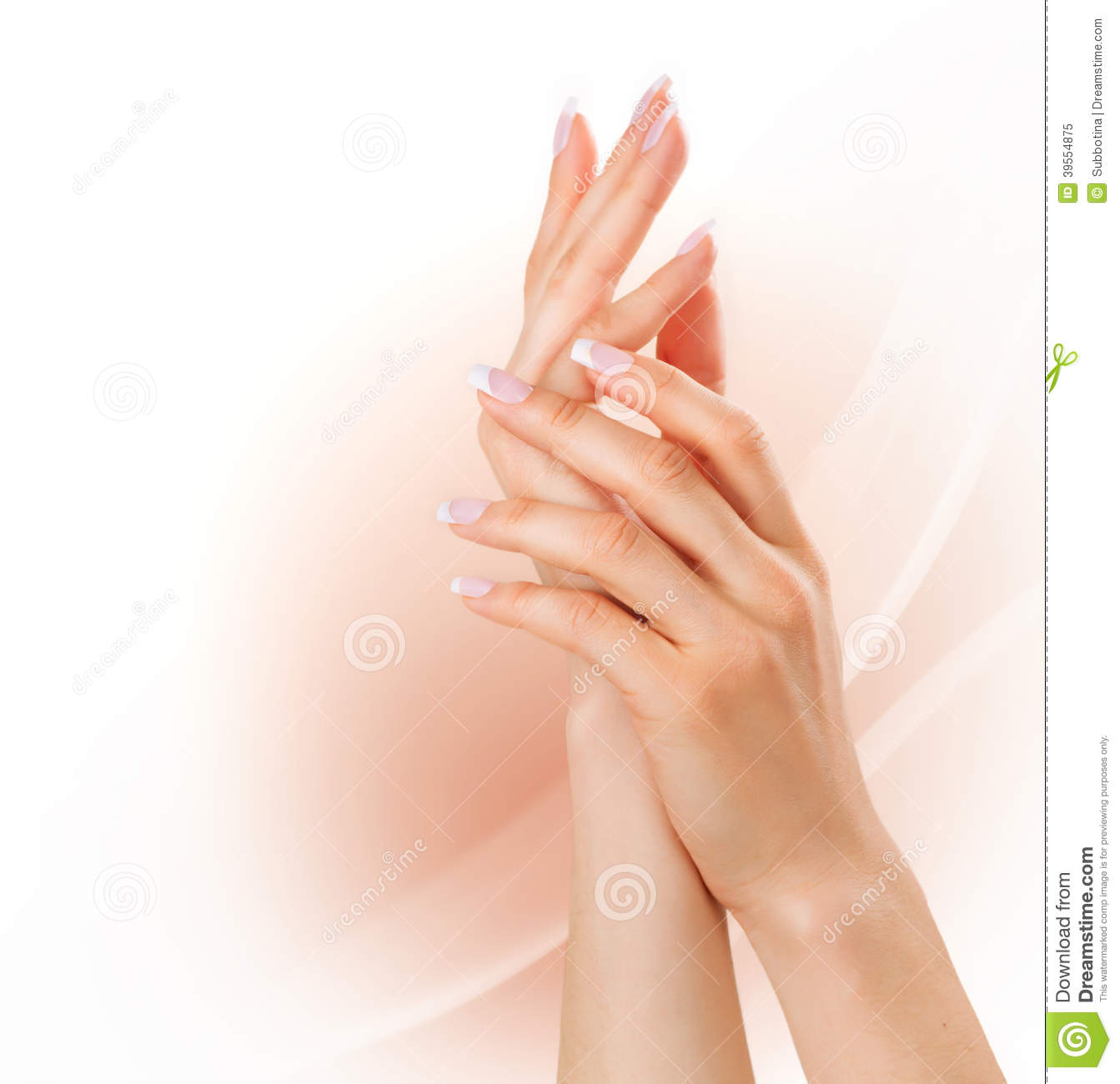 Free Manicure Beauty Hands Makeover: Woman Hands With French Manicure Stock Image