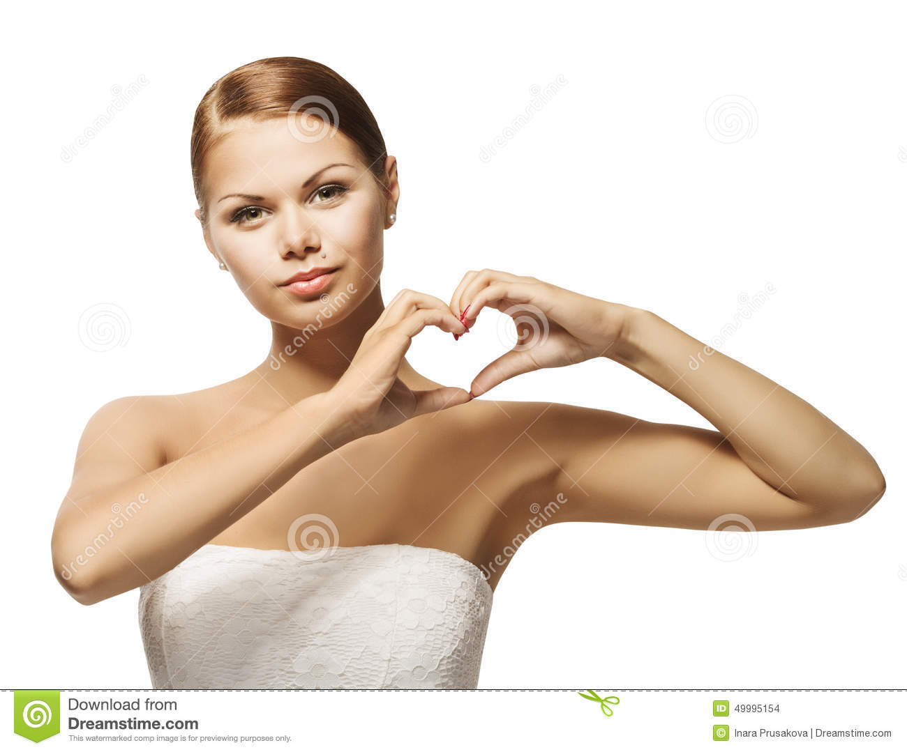 Woman Hands In Heart Shape. Girl Showing Gesture Sign, Health And ...