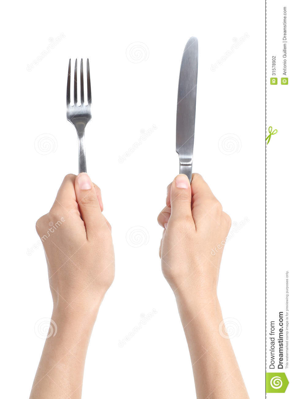 Woman Hands Holding A Fork And A Knife Stock Photography