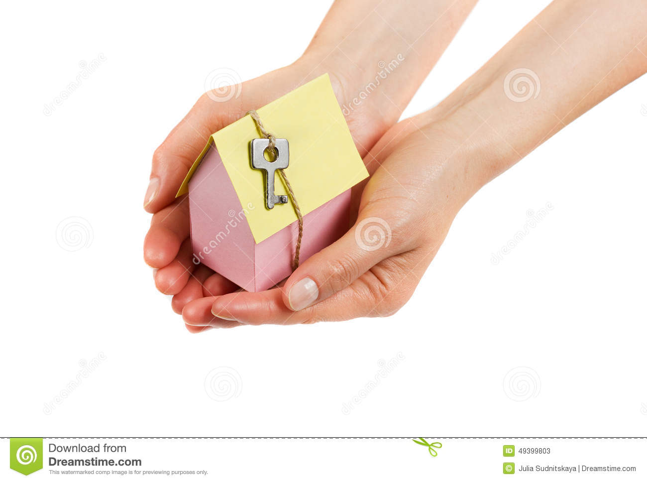 woman hands holding model cardboard house key twine isolated white background building loan real estate 49399803