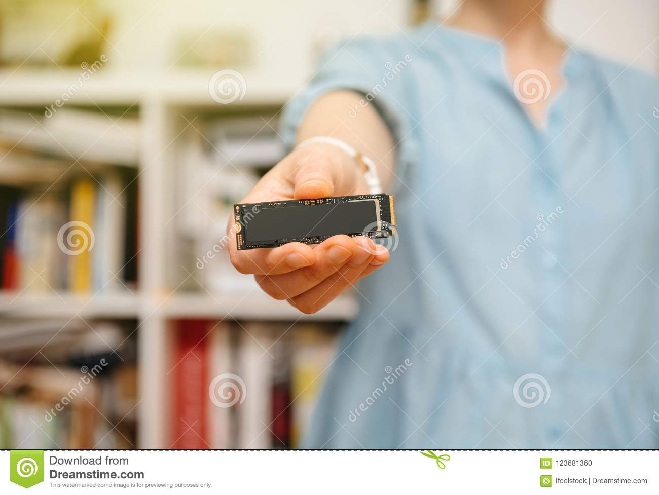 Woman Hands Holding New NVME Drive In It Background Stock