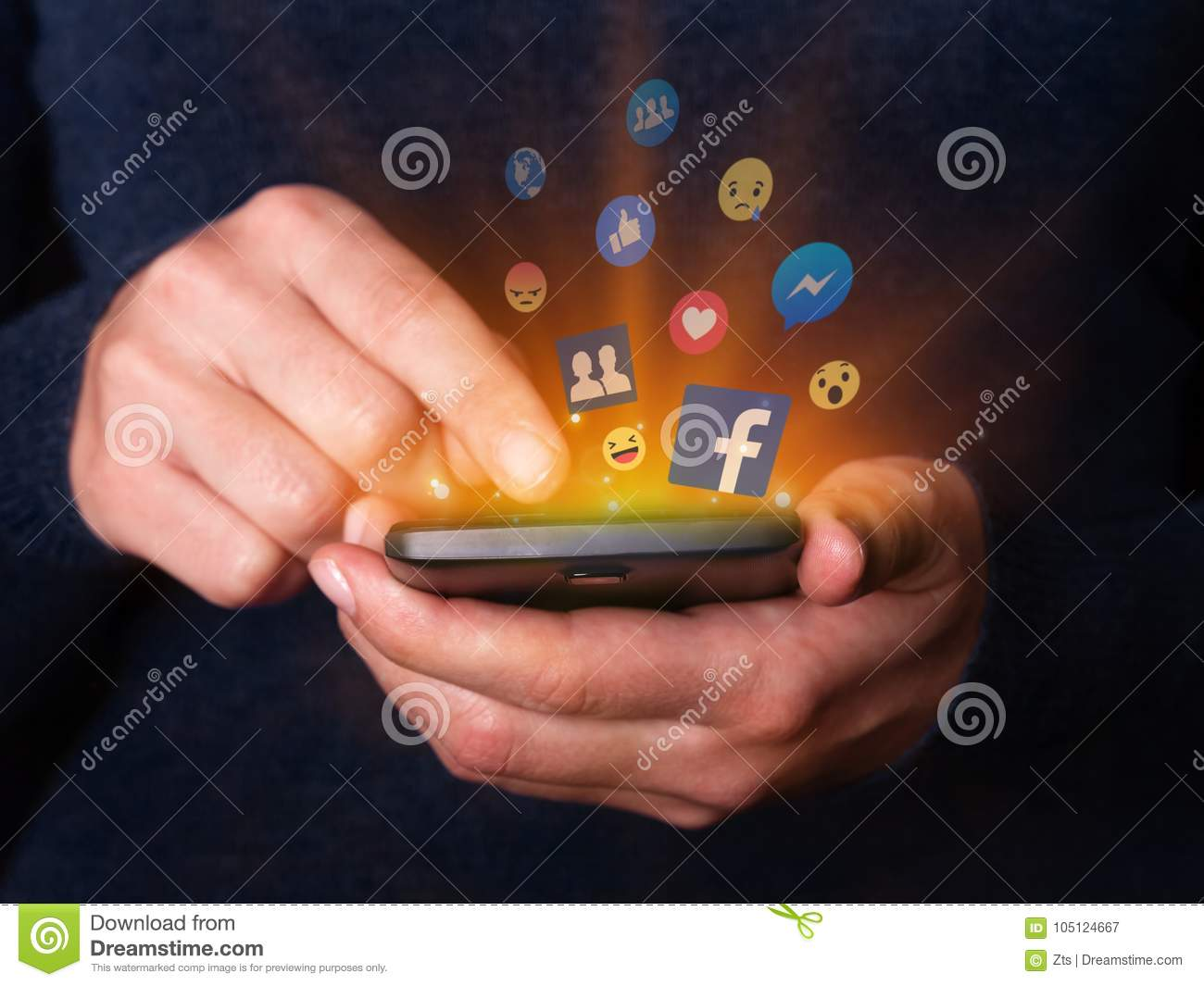 Woman hands holding and using smartphone mobile cell phone check Facebook social media network app.