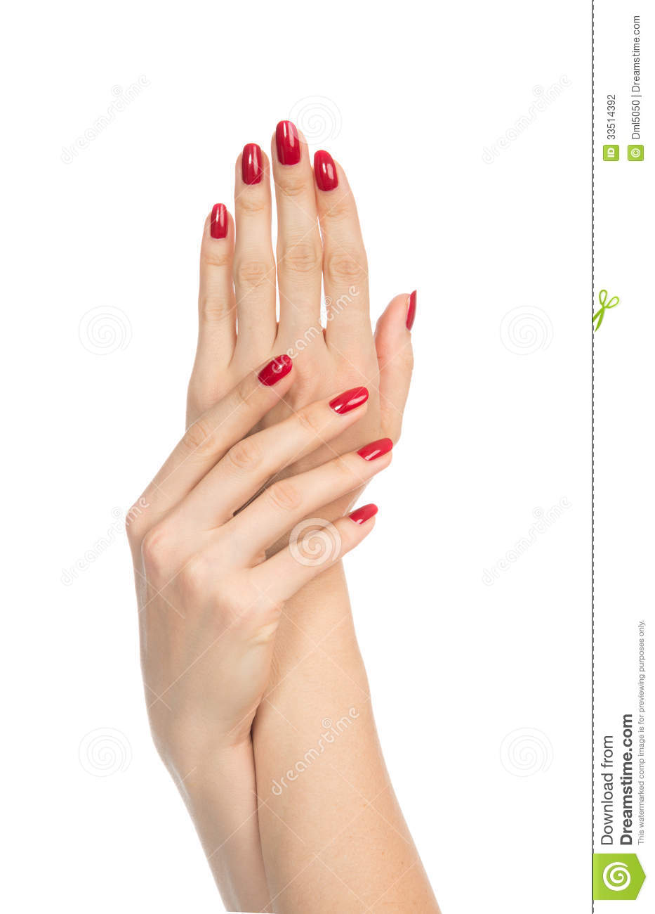 Woman Hands With Manicured Red Nails Stock Photo