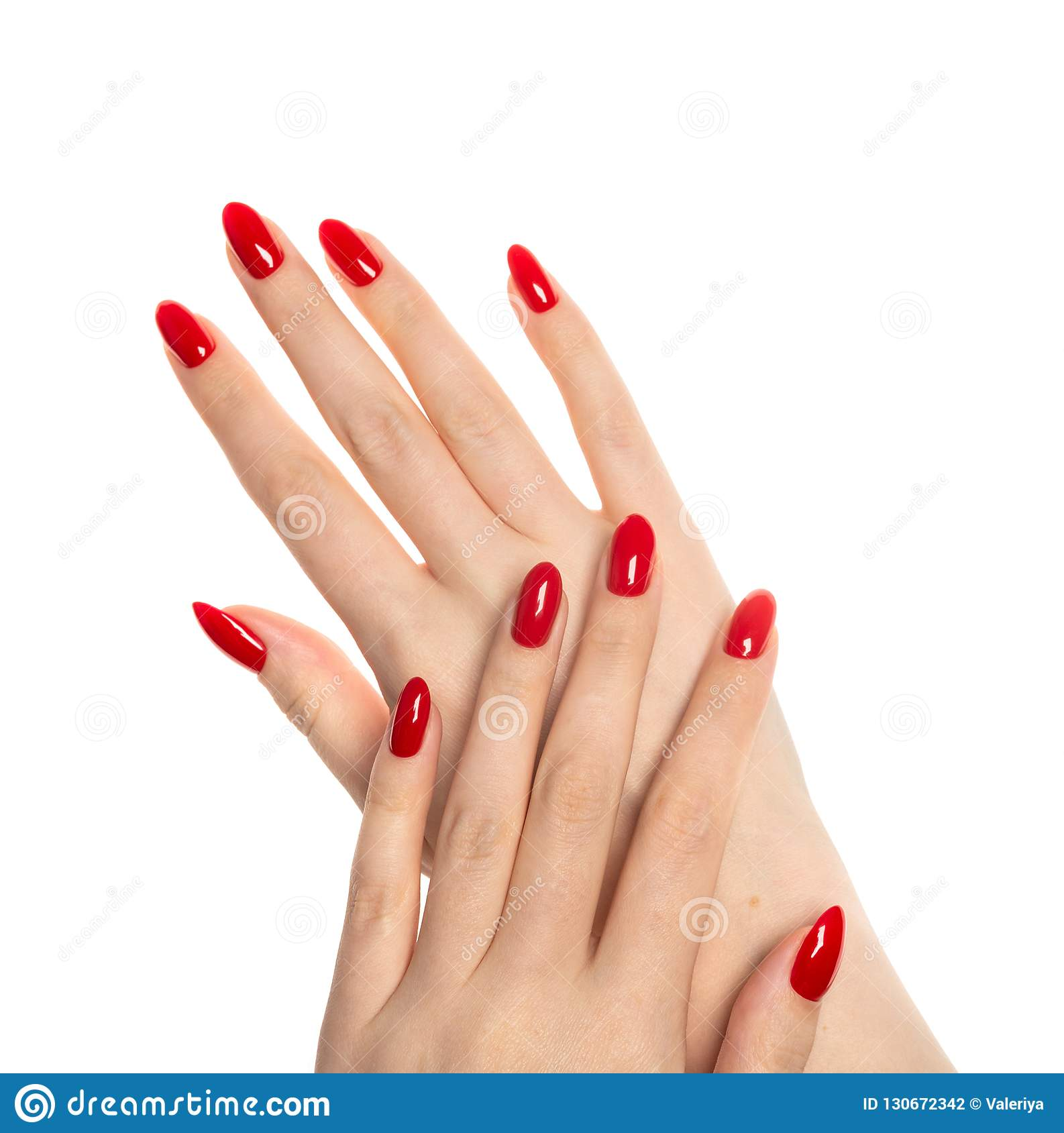 Woman Hands With Manicured Red Nails Stock Photo Image Of Fashion Design 130672342